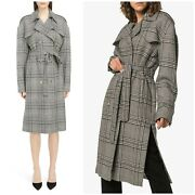 Magda Butrym Double-breasted Houndstooth Lambs-wool Trench Tie Waist Coat 36 4us