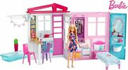 Barbie Doll And Fully Furnished Portable Dollhouse With Pool Fxg55