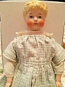 Antique German Curley Hair Young Lady Doll With Antique Leather Jointed Body
