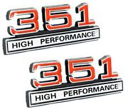 351 5.8 Engine High Performance Emblem Logo In Red And Chrome Trim - 4 Long Pair