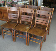 Antique Matching Set Of Six Wooden Chairs - Unique Circular Back Style -