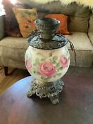 Vintage Antique Gwtw Oil Roses Table Lamp Parts Only Broke Glass Globe