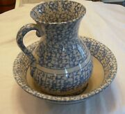 Antique 1850-1885 Blue And White Spongeware Water Pitcher And Basin Bowl Exceptional
