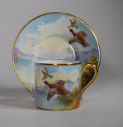 Minton Hand Painted Red Grouse Game Bird Demitasse Cands Artist Signed