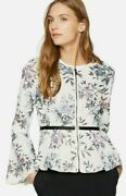 Bagatelle Floral Perforated Peplum Faux Leather Jacket Size S Nwt 💟
