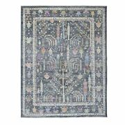 8and0399x11and0397 Soft Wool Hand Knotted Gray With Tree Design Angora Oushak Rug R55247