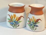 Emerson Creek Pottery Hand Painted Floral Bouquet Cream And Sugar Set