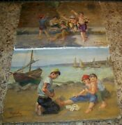 Lot 2 Italian Children Playing Cards Game Oil On Canvas Paintings S Scalia Italy