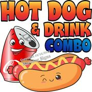 Hot Dog And Drink Combo Decal Choose Your Size Food Truck Concession Sticker