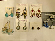 Lot Of 7 Pairs Earrings Lia Sophia And Kiam, Alex And Ani, Lucky Brand All New