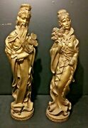 Vintage Universal Statuary Corp.pair Of Large 29 Asian Gold Chalkware Mcm 1965
