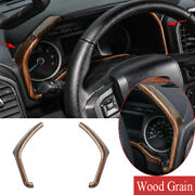 Kit For Ford F150 2015-2020 Wood Grain Abs Dashboard Instrument Side Strips Trim