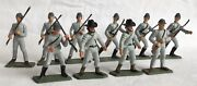 Vintage Starlux 1970andrsquos Acw Confederates X 10 In Grey. 65mm Scale Plastic.