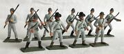 Vintage Starlux 1970's, Acw Confederates X 10 In Grey. 65mm Scale Plastic.