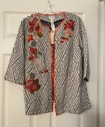 Chicoandrsquos 1 Jacket Womenandrsquos 8 Artisan Appliquandeacute Embroidered Textured Floral Ivory