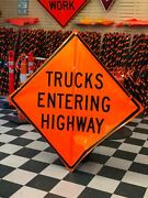 Trucks Entering Highway Fluorescent Vinyl With Ribs Roll Up Road Sign 48 X 48