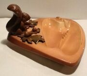 Vintage Tobacco Squirrel Ceramic 3d Ashtray Hand Painted Used Acorns Oak Leaves