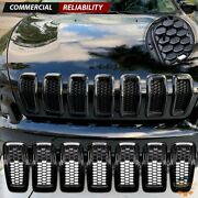 For 14-18 Jeep Cherokee Honeycomb Mesh Front Grill Grille Inserts Gloss Black 7x