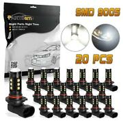 20 9005 Hb3 9055 White 6000k Led Bulbs Replacement For Fog Driving Light 9005xs