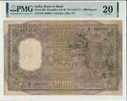 Reserve Bank India 1000 Rupees Nd1954-57 Calcutta. Rare Type Pmg 20