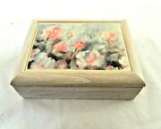 Musical Jewelry Box Wood Ceramic Tile Inlay Unfinished Light Wood Look Memory