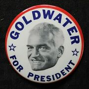 1964 Barry Goldwater Cello 3 1/2 Gop Republican Pinback Button Not Cone Head Nm