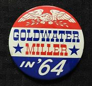 1964 Barry Goldwater And William Miller 3 Cello Gop Republican Pinback Button Nice