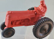 Auburn Rubber 4 Red Farm Tractor With Driver Excellent 1950