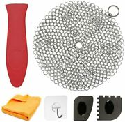 """Cast Iron Cleaner 7"""" Circle Stainless Steel Scrubber Cast Iron Cleaning Kit"""