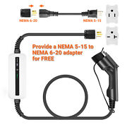 16a Ev Charger J1772 Home Portable Electric Vehicle Car Charging Cable 6-20p
