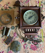 Vintage Wood Cased Wall Pendulum Clock For Parts Or Project Wood Works