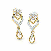 Christmas 0.84ct Natural Round Diamond 14k Solid Yellow Gold Dangler Earring
