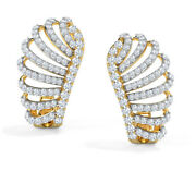 Christmas 1.55ct Natural Round Diamond 14k Solid Yellow Gold Stud Earring