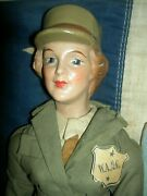 Wonderful 15 Freundlich Novelty 1942 Compo. Us Military Waac Soldier Doll