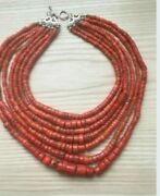 Old Antique Vintage Clear Pink Coral Beads Necklace Saturated Color - 224 G