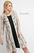 Vocal Womens Western Natural Ivory Lace Suede Cardigan Duster Jacket S M L Xl