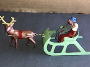 Vintage 1947 Barclay Lead Christmas Open Sleigh With Reindeer Scarce And Rare