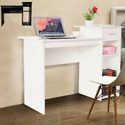 Computer Desk W/ Drawer White Study Writing Table Gaming Office Desk Workstation