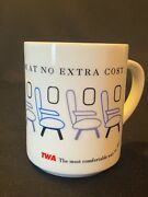 Vtg Twa Airlines Coffee Mug The Most Leg Room At No Extra Cost