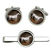 A Grey Horse In A Stable By William Burraud Cufflinks And Tie Clip Set