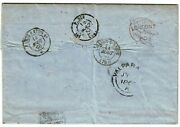 British Po Abroad Chile 1860 Valparaiso Double Arc Cancel On Cover To France