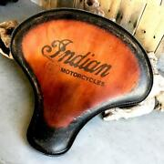 Spring Solo Tractor Seat Bobber 15x14 Indian Antique Brown Distressed Tattoo