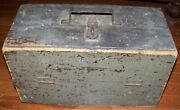 Antique Primitive Green Painted Tool Fishing Tackle Wooden Box Wood