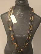 Mkj3397 Gold Tone And Tortoise Shell Chain Link Necklace Authenticnwt