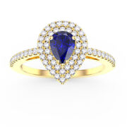 Christmas 1.10ct Natural Round Diamond Blue Sapphire 14k Solid Yellow Gold Ring