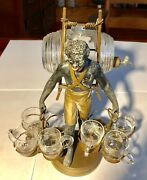 Rare Vintage African American Black Collectible Figurine Liquor Keg And Glasses
