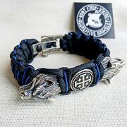 Paracord Bracelet With Beads Wolf Head And Jerusalem Cross.