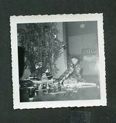 Vintage Photo Boy And Christmas Tree W/ Tinsel Marx Toy Gas Station 439101
