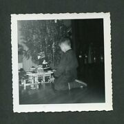 Vintage Photo Boy And Christmas Tree W/ Tinsel Marx Toy Gas Station 439102