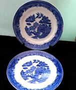 Antique John Tams Blue-white Collectible Plates Willow Pattern Pottery England